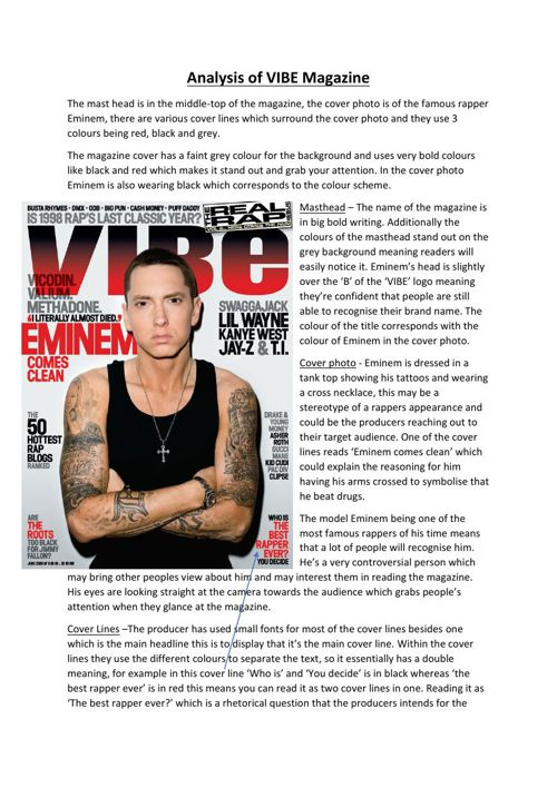 Analysis of VIBE Magazine