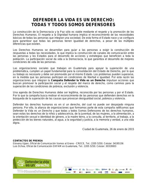 LANZAMIENTO CAMPAÑA DEFENDER LA VIDA ES UN DERECHO