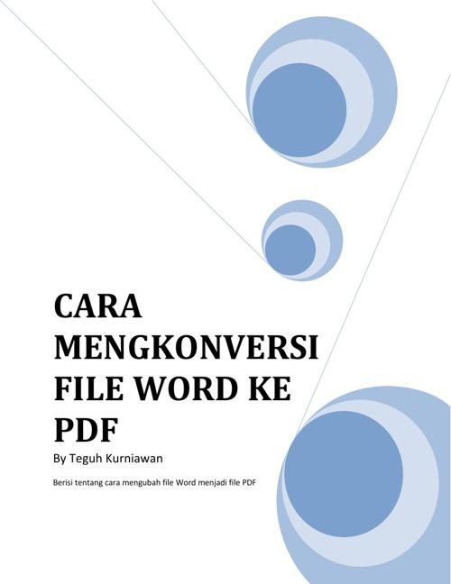 Cara mengkonversi File Word ke PDF secara online