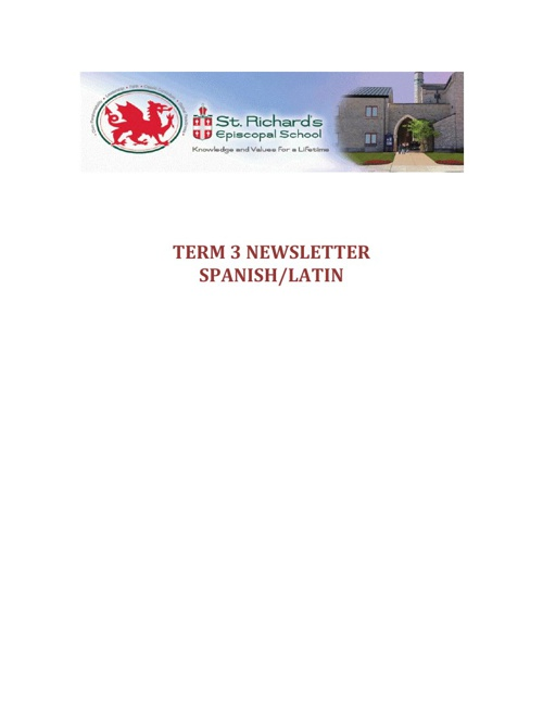 Term 3 Spanish/Latin Newsletter