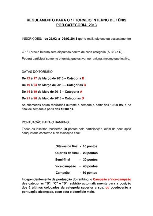 REGULAMENTO 1° TORNEIO INTERNO 2013