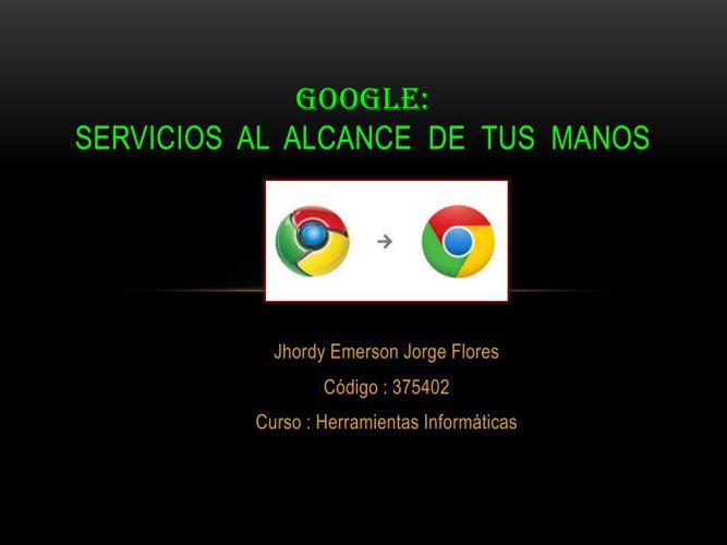 SERVICIOS  DE  GOOGLE :     JORGE FLORES JHORDY ..COD 375402