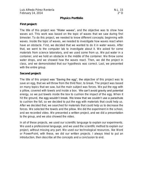 Physics Portfolio