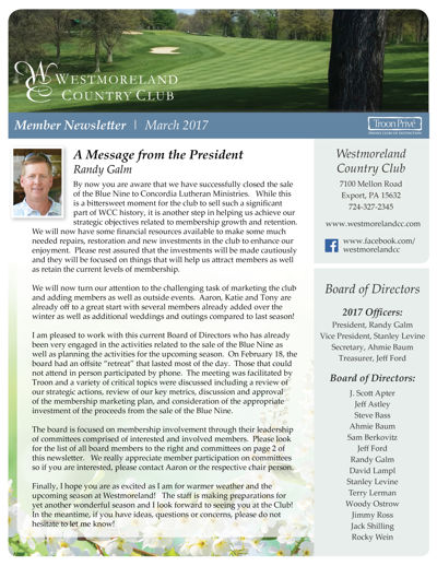 WCC Member Newsletter   March 2017