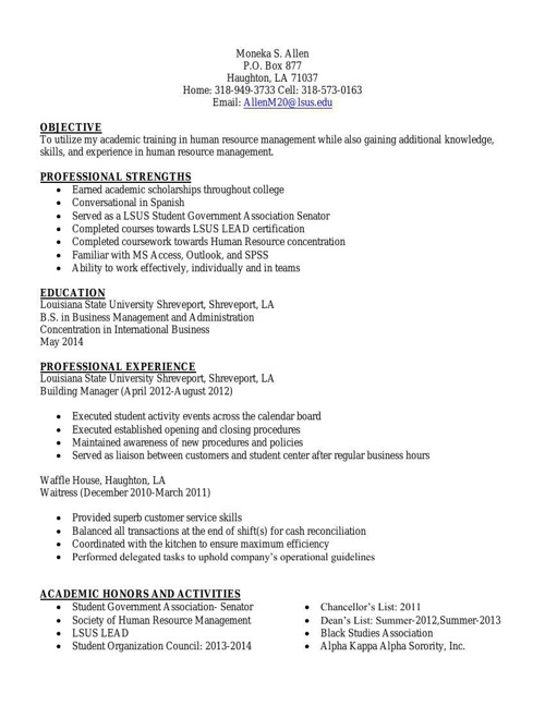 LSUS SHRM Resume Book 2014