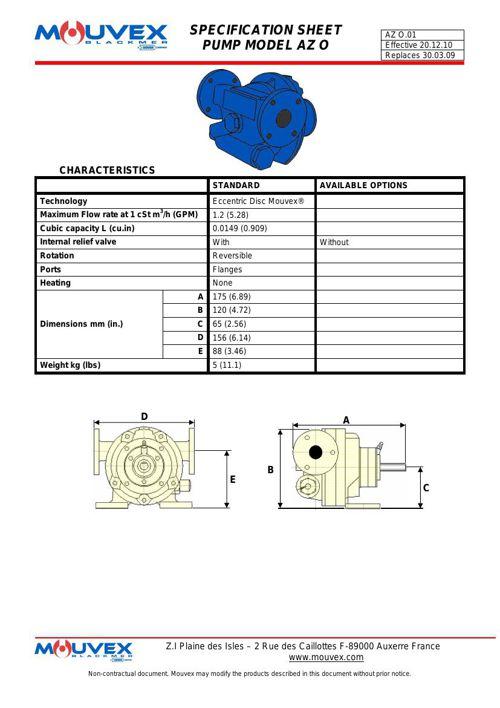 Mouvex AZ Spec Sheet