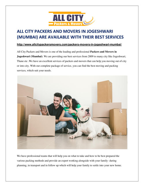 All City Packers and Movers in Jogeshwari (Mumbai)