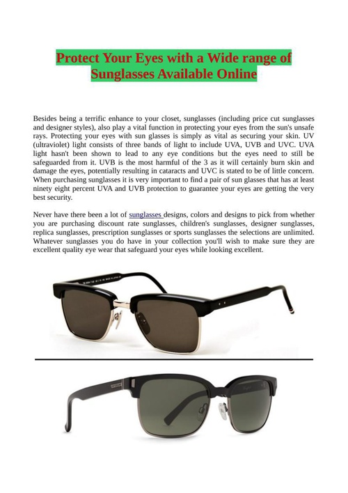 Protect Your Eyes with a Wide range of Sunglasses Available Onli