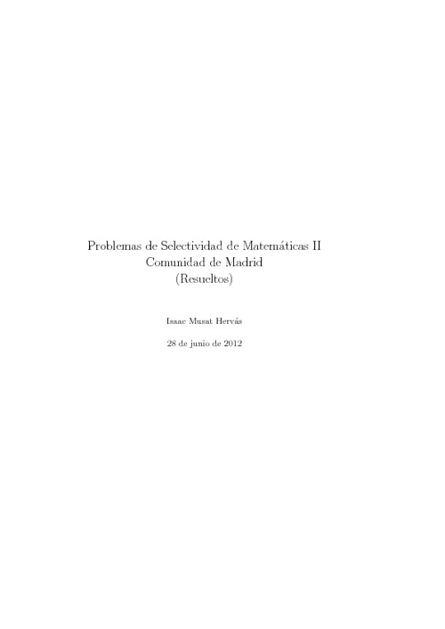 Libro con ejercicios Matemáticas II selectividad