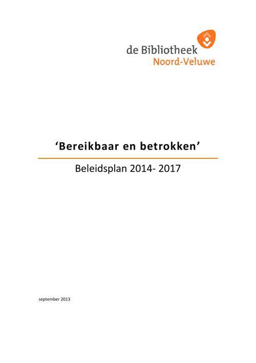Beleidsplan Bibliotheek Noord-Veluwe 2014- 2017