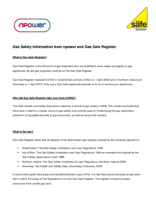 Gas Safety Information from npower and Gas Safe Register