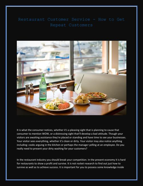 Restaurant Customer Service - How to Get Repeat Customers