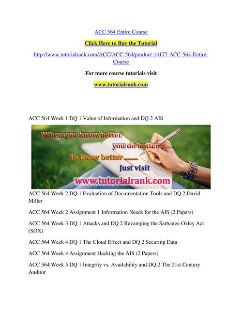 ACC 564 Course Success Begins / tutorialrank.com