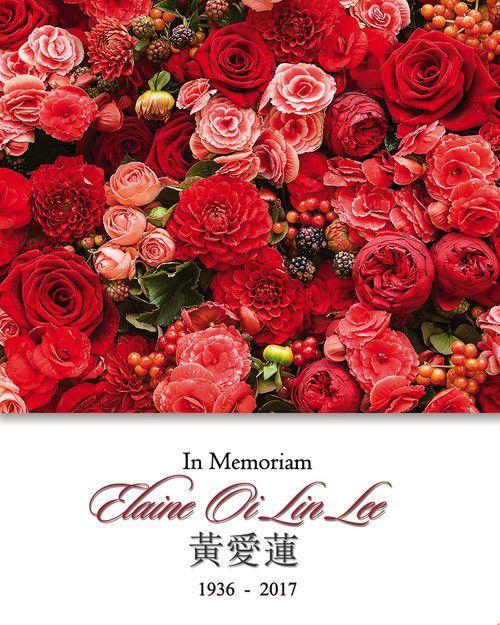 Memorial Card for Elaine Oi Lin Lee