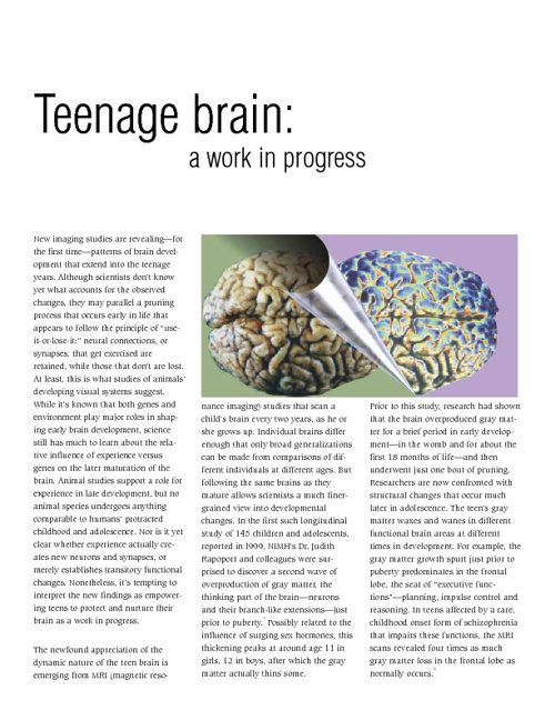 Selected Readings on the Teen Brain