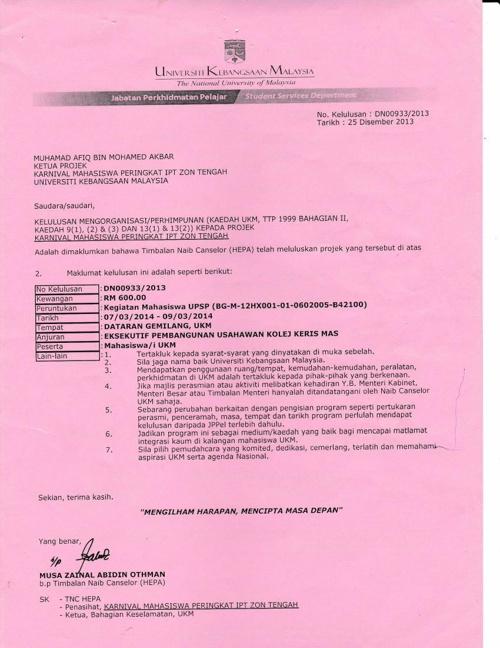 Surat JPPel Karnival Mahasiswa