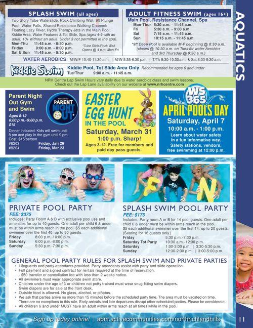 Aquatic Class Schedule - Winter 2018