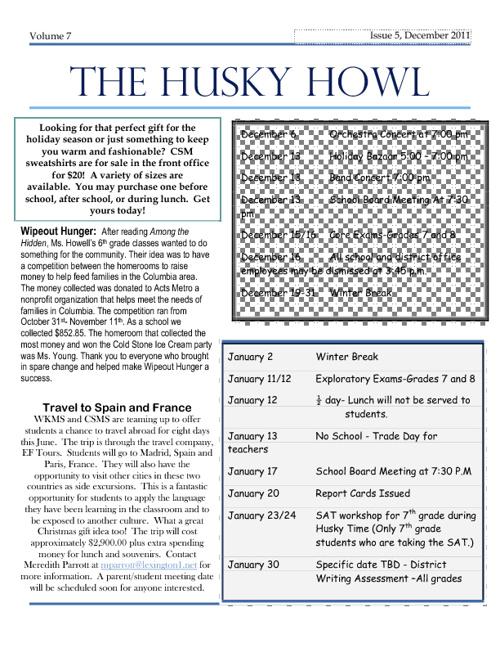 Husky Howl December 2011
