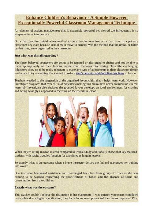 Enhance Children's Behaviour - A Simple However Exceptionally Po