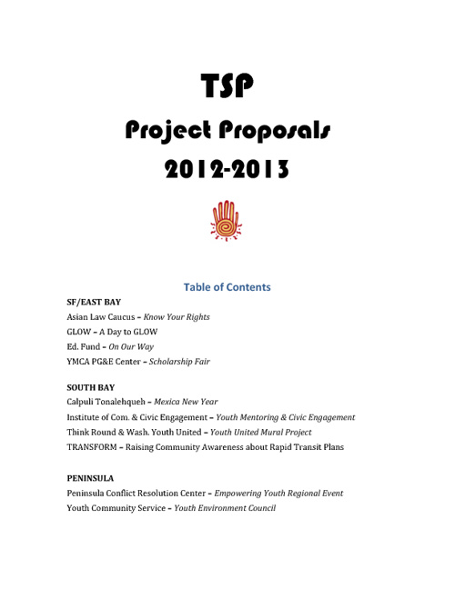 TSP Project Proposals 2012-2013