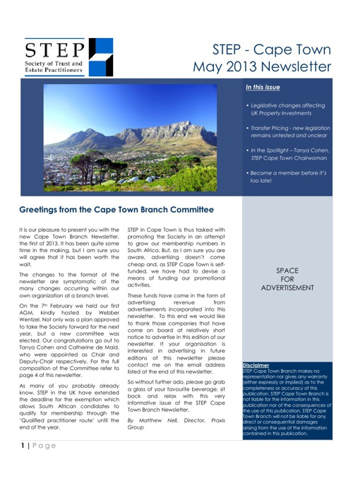 STEP Cape Town Newsletter - May 2013 (DRAFT)