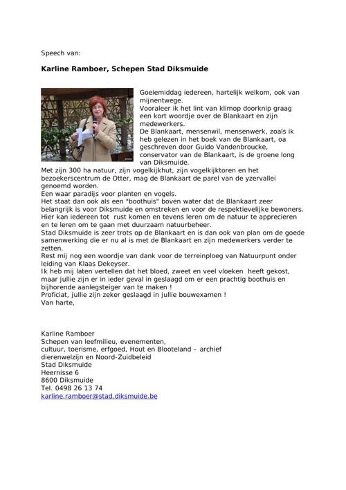 Speech van Karline Ramboer, Schepen Stad Diksmuide