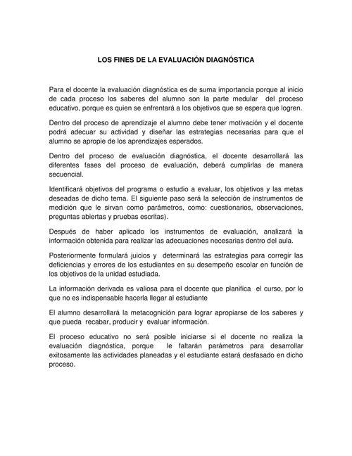 LOS FINES DE LA EVALUACIÓN DIAGNÓSTICA ADDI
