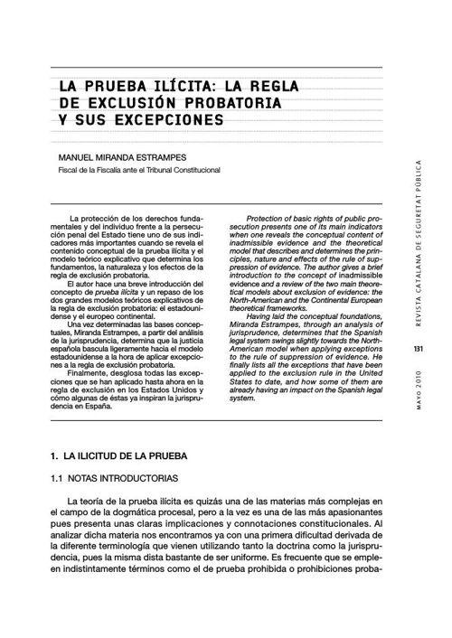 LA PRUEBA ILÍCITA LA REGLA DE EXCLUSIÓN PROBATORIA Y SUS EXCEPCI