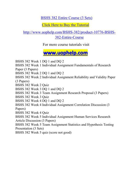 BSHS 382 Entire Course (3 Sets)