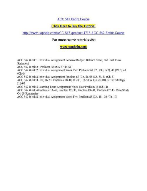 ACC 547 INSTANT EDUCATION / UOPHELP