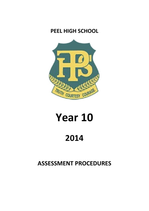 Stage 5 Peel High School Assessment Booklet 2014