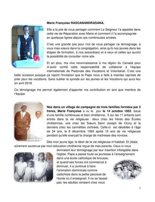 Temoignage de Sr. Marie Françoise RASOANANDRASANA