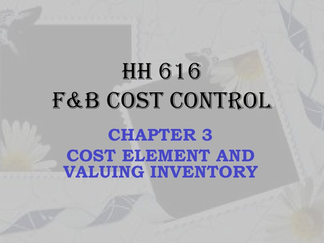 food & beverage cost control