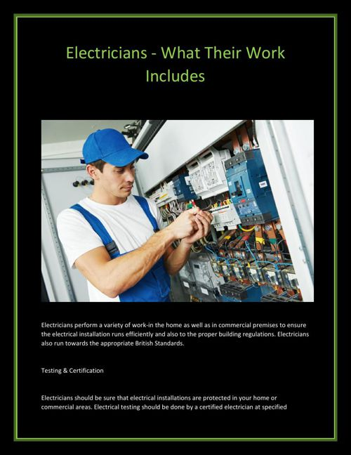 Electricians - What Their Work Includes