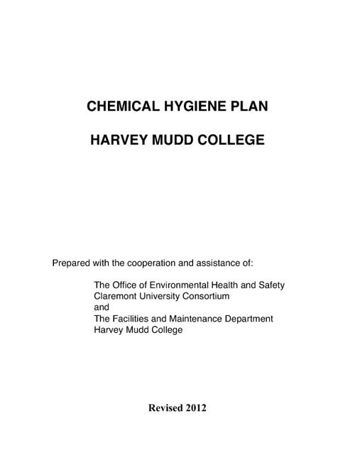 HMC Chemical Hygiene Plan 2012