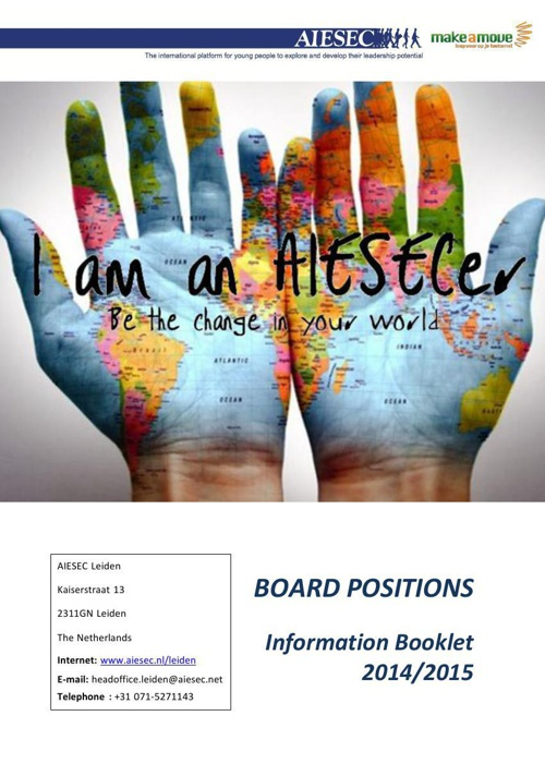 AIESEC Board Positions Info Booklet 2014 Leiden