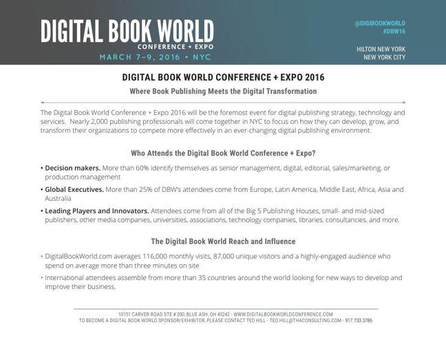 DBW 2016 Conference Prospectus