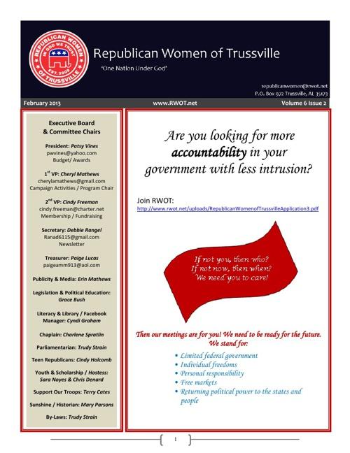 February 2013 RWOT Newsletter