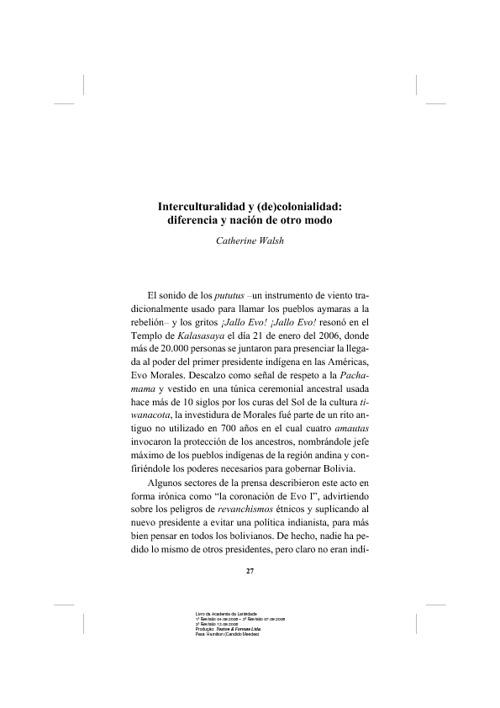 Interculturalidad y decolonialidad.