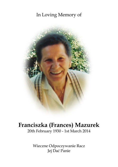 12 Page Order of Service for Franciszka (Frances) Mazurek