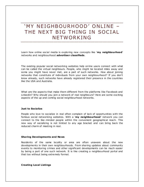 'My Neighbourhood' Online – The Next Big Thing in Social Network