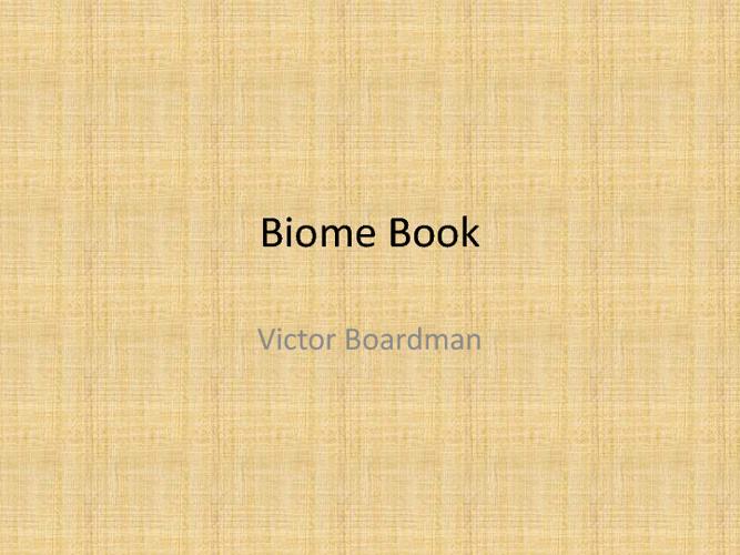 Victor's Biome BOok
