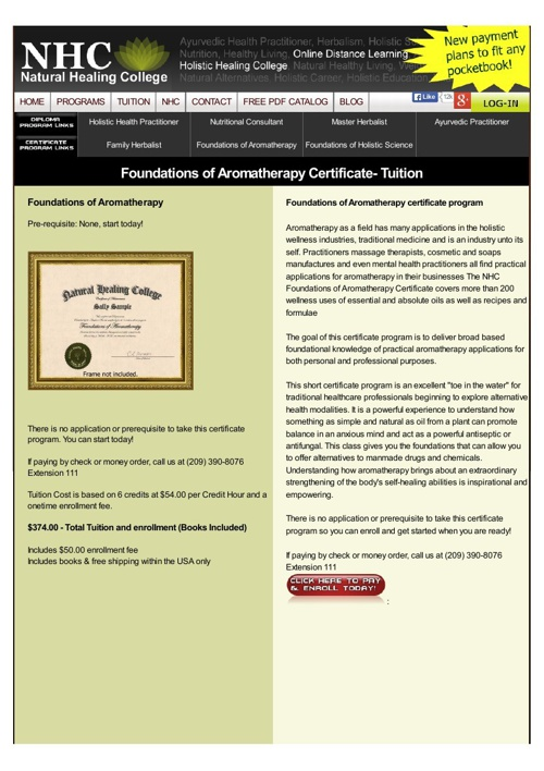 Foundations of Aromatherapy Certificate- Tuition