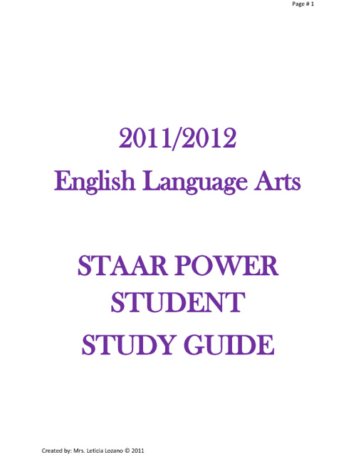 STAAR POWER STUDENT STUDY GUIDE