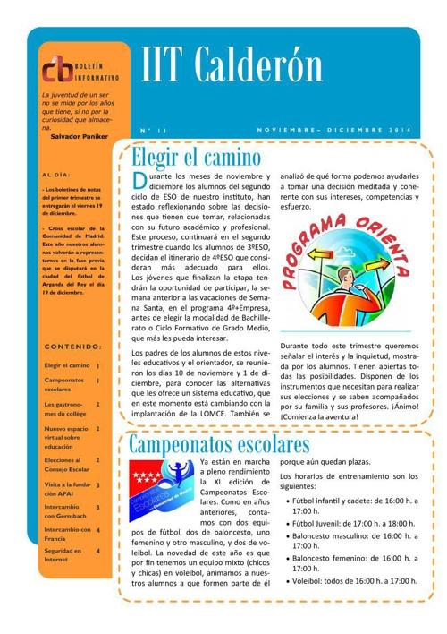 Boletín de noviembre-diciembre del IES Calderón de la Barca de P
