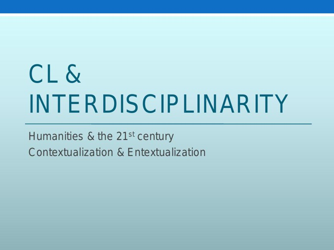 CL & Interdisciplinarity
