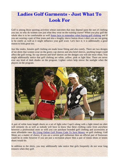 Ladies Golf Garments - Just What To Look For