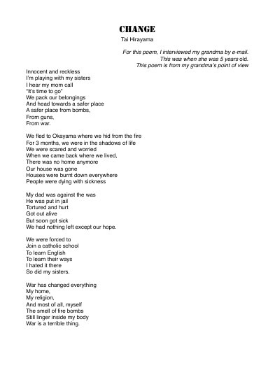 War Poem-- CHANGE