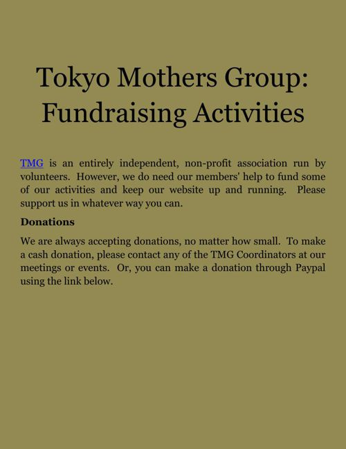 Tokyo Mothers Group: Fundraising Activities