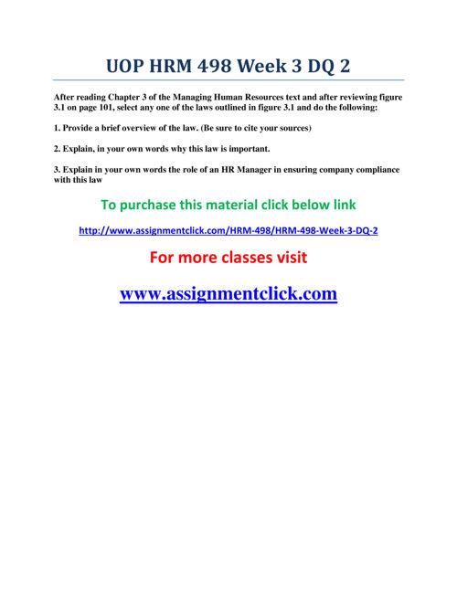 UOP HRM 498 Week 3 DQ 2